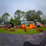 Decorated campsite at Halloween